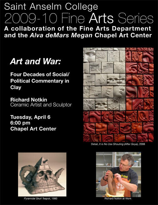 Artist Talk Tuesday, April 6th @ 6pm: 'Art and War: Four Decades of Social/Political Commentary in Clay'